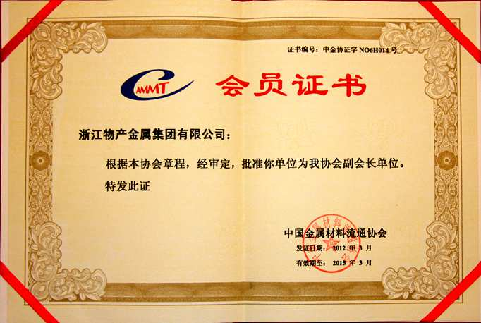 Year 2012: Executive Vice President Company of China Metal Materials Circulation Association;