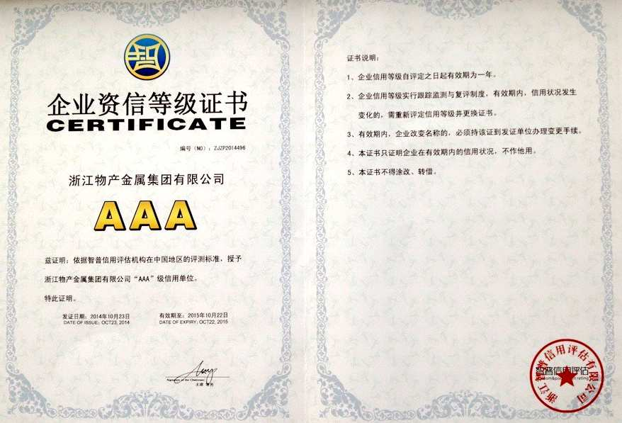 Year 2014: AAA Credit Excellent Enterprise;