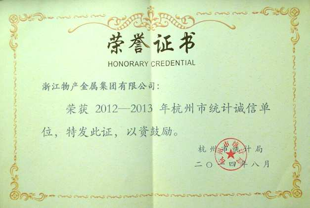 Year 2014: Awarded 2012-2013 Hangzhou Statistical Integrity Unit;